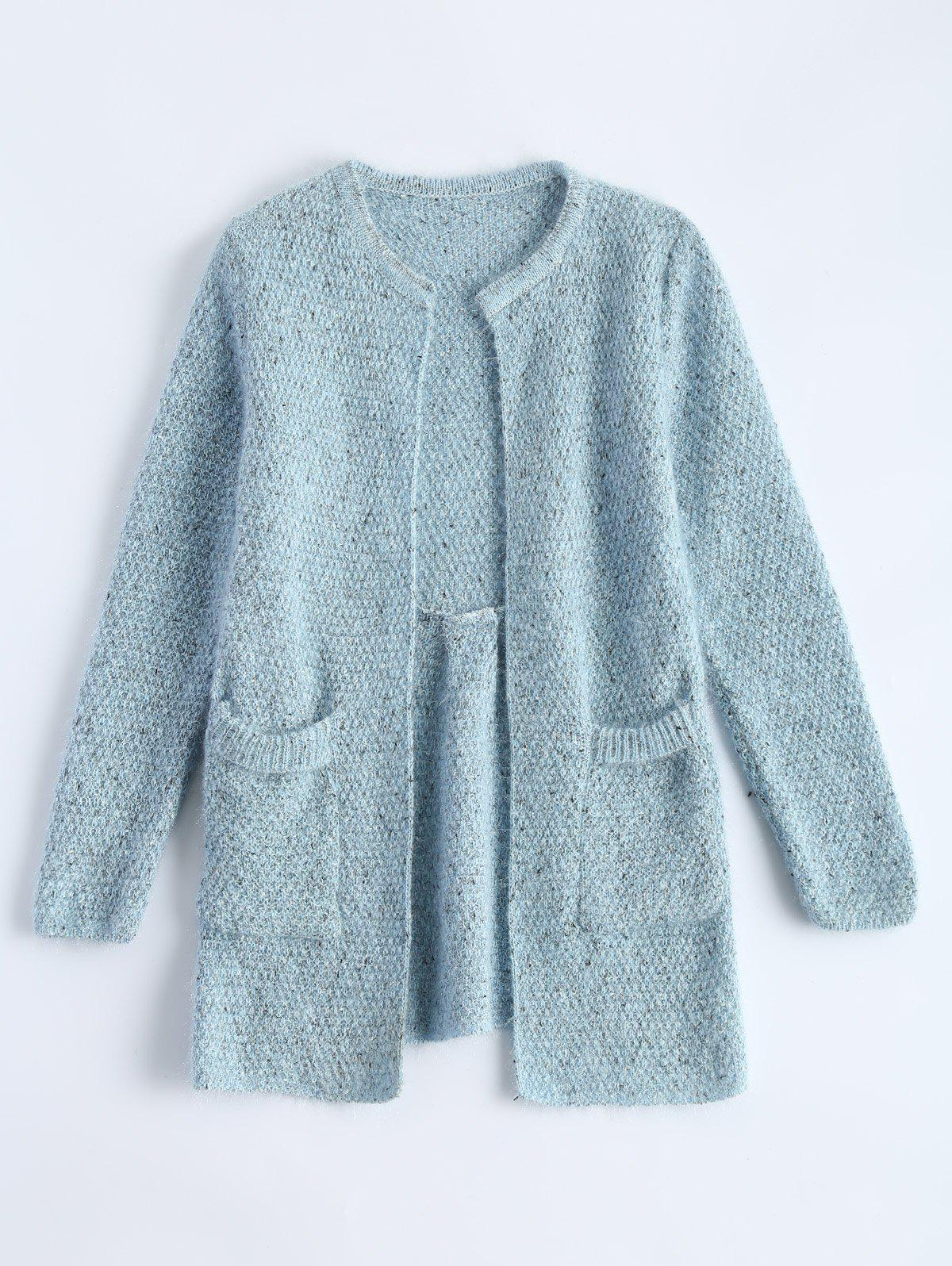 Open Front Knit Cardigan with Pockets alfani women s linen blend open front cardigan straw pm