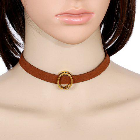 Faux Leather Velvet Round Choker - BROWN