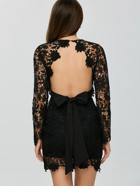 Backless Lace Short Cocktail Party Dress with Sleeves - BLACK M