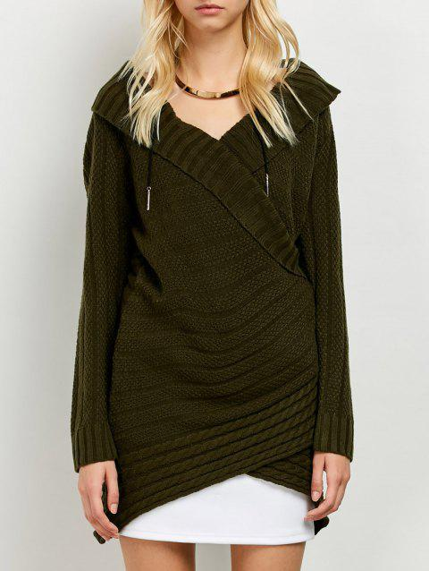Crossover Long Sweater - ARMY GREEN ONE SIZE