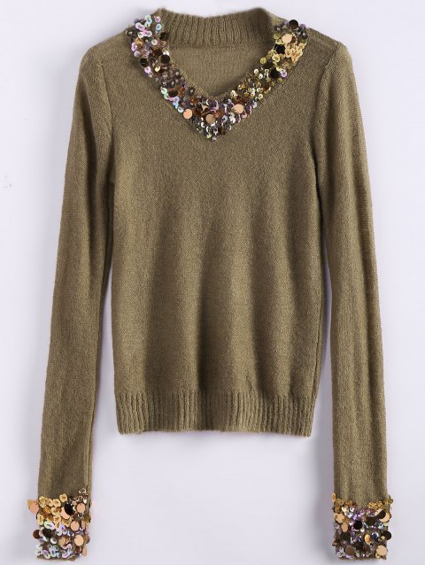 V Neck Sequins Tunic Sweater - CAMEL ONE SIZE