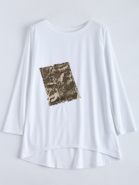 59ecea4edd2 41% OFF  2019 Asymmetric Sequined Oversized T-Shirt In WHITE L ...