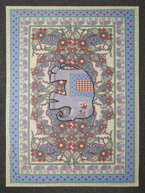 Elephant Floral Print Rectangle Beach Throw - COLORMIX ONE SIZE