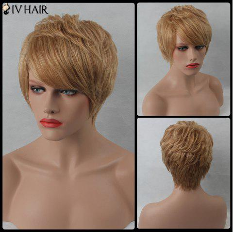 Straight Side Bang Layered Short Siv Human Hair Wig - BROWN/BLONDE