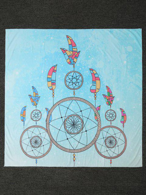 Feather Print Square Shape Beach Throw - LIGHT BLUE ONE SIZE