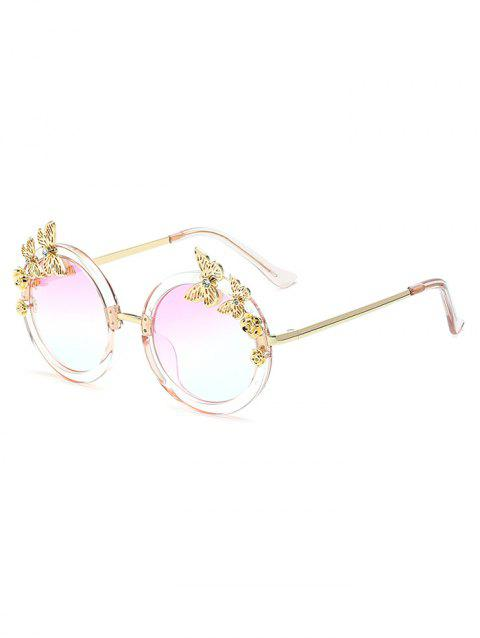 Rhinestone Butterfly Oval Mirrored Sunglasses - CLEAR WHITE