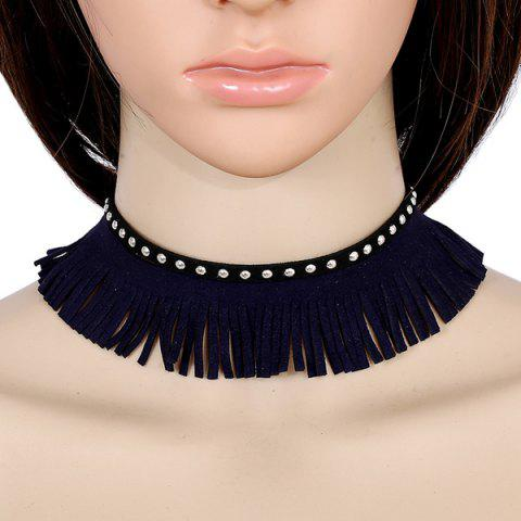 Rivets Faux Leather Velvet Tassel Choker - BLACK