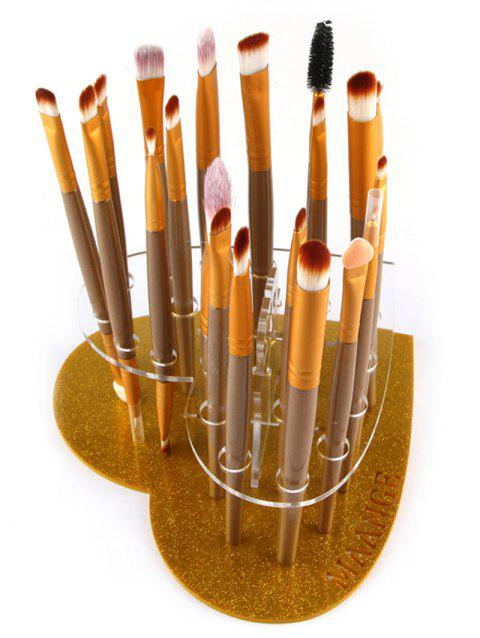 Heart Shape Brush Stand Brush Holder - GOLDEN