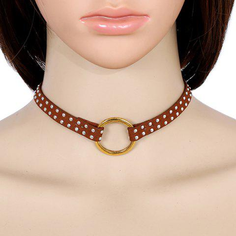 Faux Leather Rivets Circle Choker Necklace - BROWN