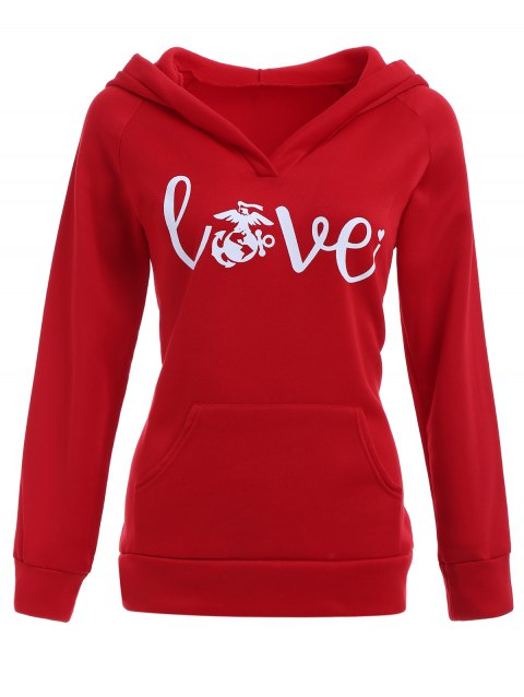 Love Graphic Hoodie with Pocket - RED S