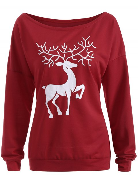 Christmas Reindeer Pullover Sweatshirt - WINE RED L