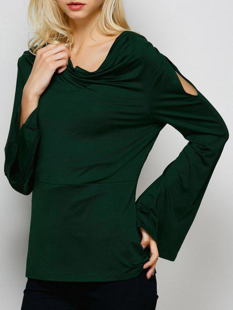 Cowl Neck Flare Sleeve Plain T-Shirt - BLACKISH GREEN S
