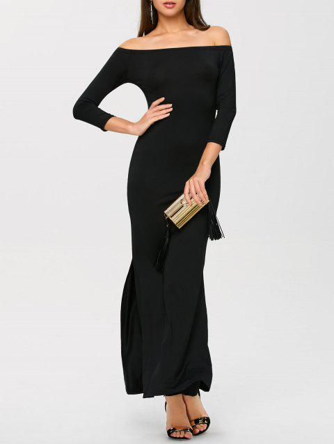 2018 Slit Off Shoulder Long Tight Mermaid Evening Dress In Black L