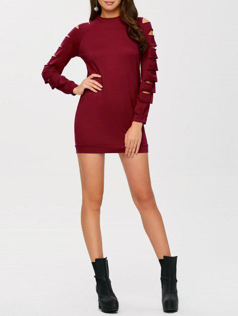 Long Sleeve Ripped Bodycon Day Dress - WINE RED L