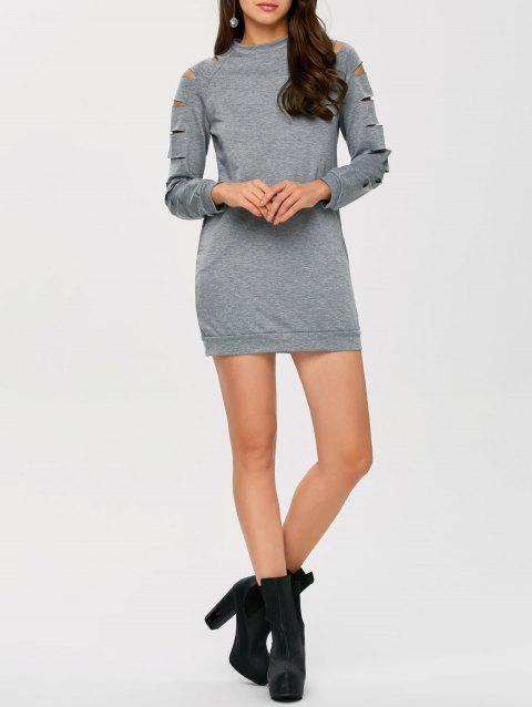 Long Sleeve Ripped Bodycon Day Dress - GRAY XL