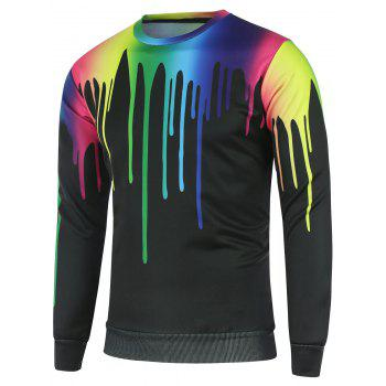 Colorful Paint Dripping Print Crew Neck Sweatshirt