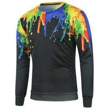 Crew Neck Colorful Paint Splash Sweatshirt