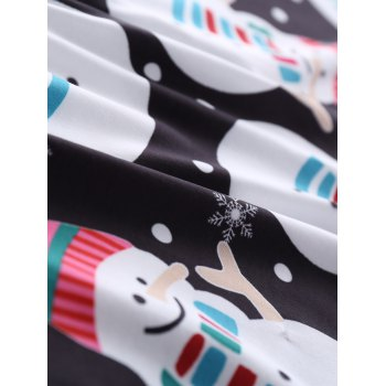 Snowman Printed Long Sleeve Knee Length Christmas Dress - BLACK M
