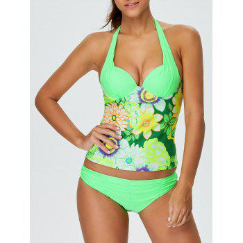 Halter Floral Padded Push Up Slimming Tankini Swimwear