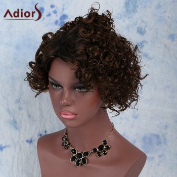 Fluffy Short Curly Capless Fashion Black Mixed Brown Synthetic Wig For Women - BLACK/BROWN