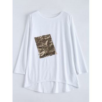 Asymmetric Sequined Oversized T-Shirt
