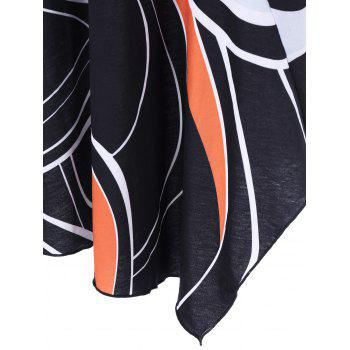Plus Size Abstract Asymmetrical T-Shirt - BLACK 2XL