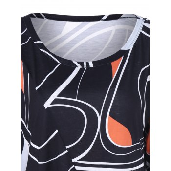 Plus Size Abstract Asymmetrical T-Shirt - BLACK XL
