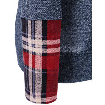 Plaid Trim Hoodie - COLORMIX XL