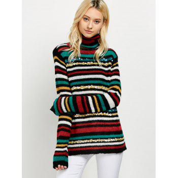 Turtleneck Striped Sequins Sweater