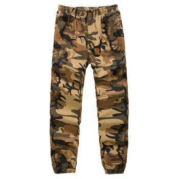 Camouflage Elastic Waist Beam Feet Nine Minutes of Jogger Pants