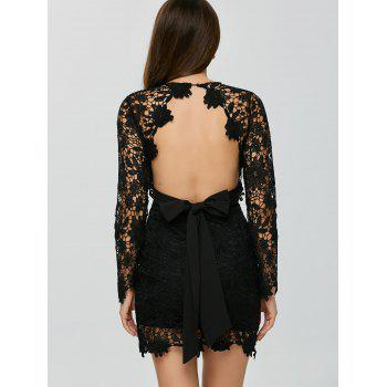 Backless Lace Short Cocktail Dress with Sleeves
