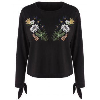 Long Sleeve Floral Embroidered Top