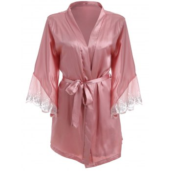 Belted Lace Insert Satin Wrap Babydolll Twinset