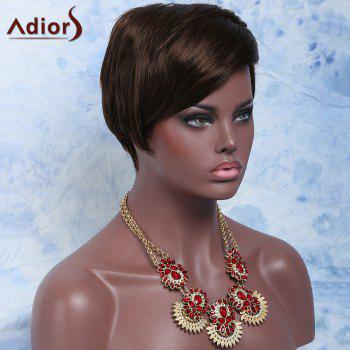 Women's Deep Brown Side Bang Short Fluffy Handsome Synthetic Hair Wig -  DEEP BROWN