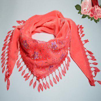 Flower Embroidery Tassel Fluffy Thicken Triangle Scarf