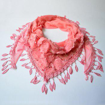 Sequined Tassel Rose Shape Lace Triangle Scarf