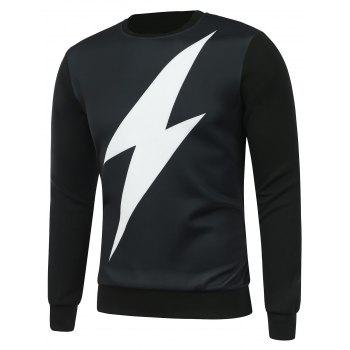 Crew Neck Lightning Print Sweatshirt
