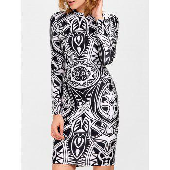 Knee Length Tribe Print Bodycon Dress