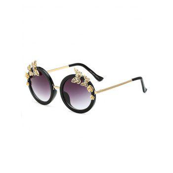 Rhinestone Butterfly Flower Oval Sunglasses