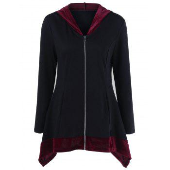 Asymmetrical Two Tone Long Jacket With Hood