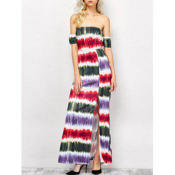 Strapless Tie Dye Striped Maxi Dress