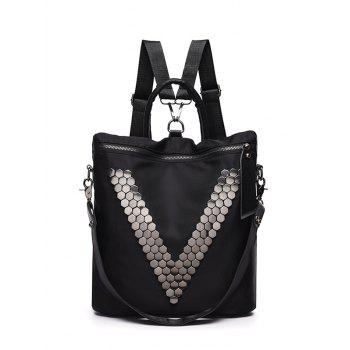 Zipper Nylon Metal Backpack - BLACK BLACK