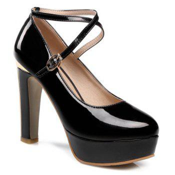 Platform Metal Cross Straps Pumps