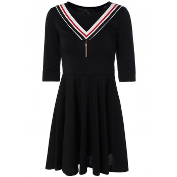 Striped A Line Dress with Pendant