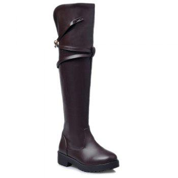 Dark Colour Cross Straps Thigh Boots