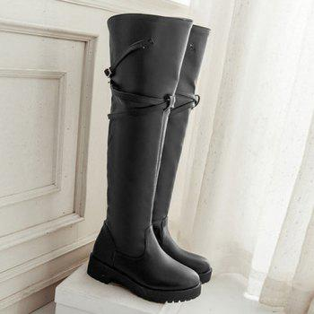 Dark Colour Cross Straps Thigh Boots - BLACK 38