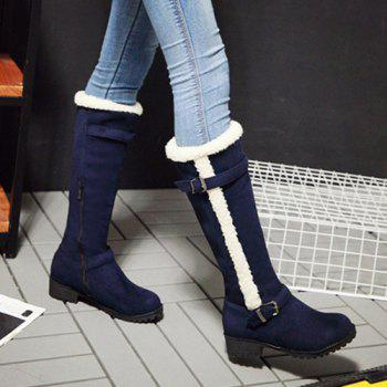 Double Buckle Flat Heel Zipper Boots - DEEP BLUE 37