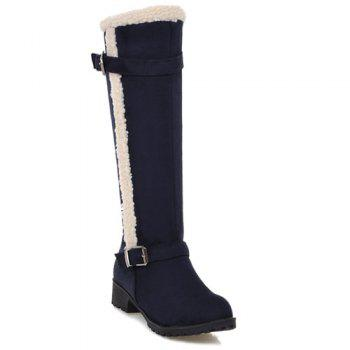Double Buckle Flat Heel Zipper Boots