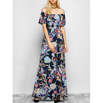 Flounced Floral Off The Shoulder Maxi Dress