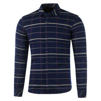 Flocking Long Sleeve Plaid Shirt